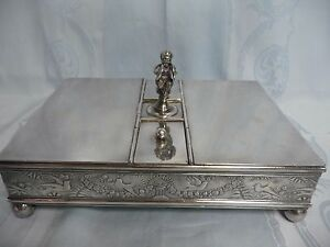 Victorian Meriden Silver Plate Double Sided Cigar Humidor W Child