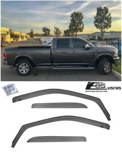 For 09 18 Ram 1500 2500 3500 Crew Cab Smoke Tinted Side Vents Window Rain Guards