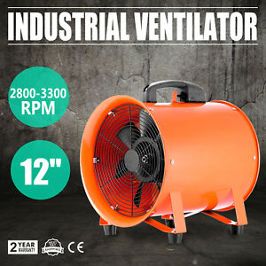 12 Industrial Fan Ventilator Extractor Blower Duct Hose Metal Axial Workshop