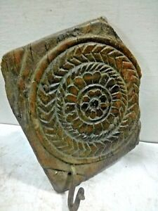 D Old Antique Rare Indian Wooden Hand Carved Carving Wall Penal Hook