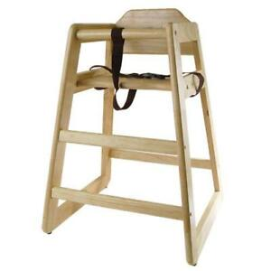 Wooden Restaurant Style High Chair Child Seat Natural Wood Color