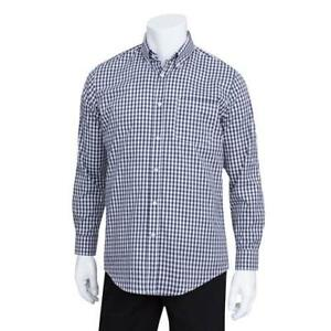 Chef Works D500bwk s Men s Navy Gingham Dress Shirt s