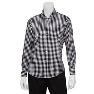 Chef Works W500bwc s Women s Black Gingham Dress Shirt s