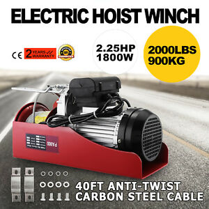 2000 Lbs Electric Wire Hoist Remote Control Garage Auto Shop Overhead Cable Lift