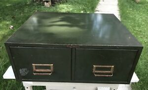 Vtg Steel Mastertwo Drawer Index Card Stackable Metal File Cabinet Storage Green