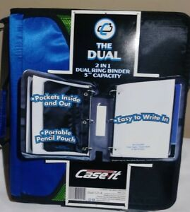 Case It The Dual Ring Binder 4 Capacity With Handle D 301 Blue