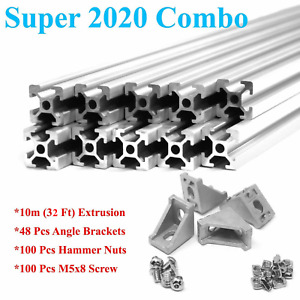 2020 T slot Aluminum Extrusion Combo Kit 10m Extrusion Angle Brackets Screw Nut