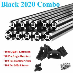 2020 Black T slot Aluminum Extrusion Kit 10m Extrusion Angle Brackets Screw Nut