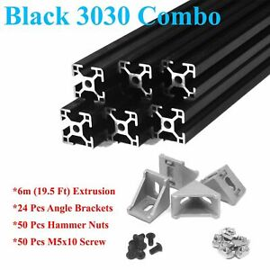 3030 Black T slot 30mm Aluminum Extrusion Kit 6m Angle Brackets Screw Nut