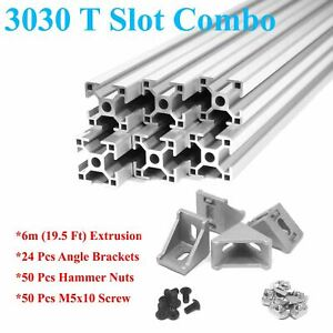 3030 T slot 30mm Aluminum Extrusion Kit 6x 1m Angle Brackets Screws Nuts