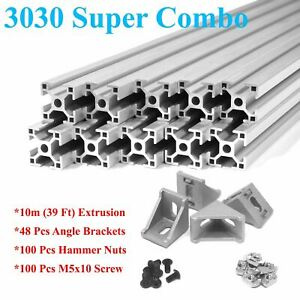 3030 T slot 30mm Aluminum Extrusion Kit 10x 1m Angle Brackets Screws Nuts