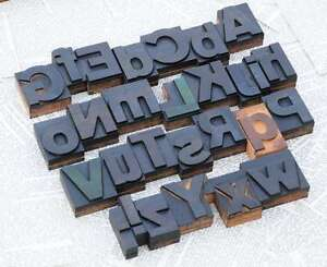 A z Mixed Alphabet 2 13 Letterpress Wooden Printing Blocks Wood Type Printer