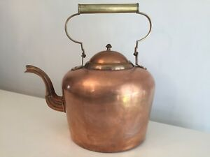 Very Large 41cm Tall Antique Victorian Copper Kettle Ribbed Spout Acorn Finial