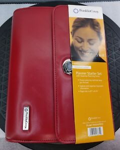 Franklin Covey Red Daytimer Planner Zip Binder Organizer Style 764304