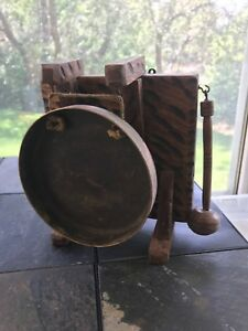 Antique Edwardian Bras And Oak Dinner Gong With Hammer Circa 1890 S