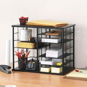 Desktop File Organizer Shelf Adjustable Shelves Home Office Metal Desk Bin Rack