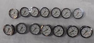 Lot Of 14 Us Gauge 0 100 Psi Pressure Gauge 1 3 4 Face 1 8 Npt Used f5