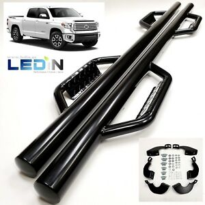 Side Dropped Step Nerf Bar For 07 18 Toyota Tundra Crewmax Extend Crew Cab Black