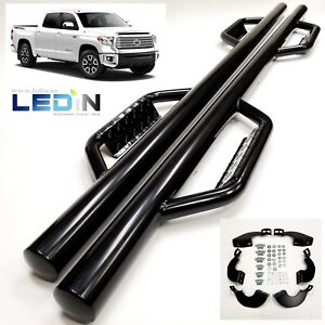 Side Dropped Step Nerf Bar For 07 21 Toyota Tundra Crewmax Extend Crew Cab Black