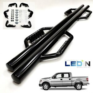 Side Dropped Step Nerf Bar For 09 14 Ford F150 F 150 Super Crew Cab Black Bars