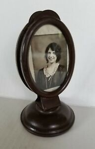 Vintage Small Bronze Oval Metal Picture Dual Frame Woman Bride Letter Holder