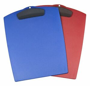 Storex Hard Poly Clipboard Letter Sized Blue And Red Case Of 12 40213b12c