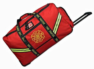New Firefighter Premium Rolling Bunker Turnout Gear Bag With Retractable Handle
