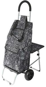 Dbest Products Trolley Dolly With Seat Paisley Shopping Grocery Foldable Cart