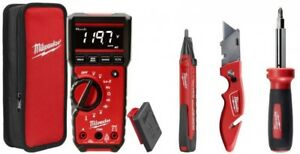 Milwaukee Digital Multimeter Screwdriver Knife Voltage Detector Combo Kit