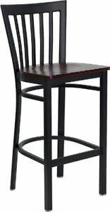 Flash Furniture Hercules Series Black School House Back Metal Restaurant Wood