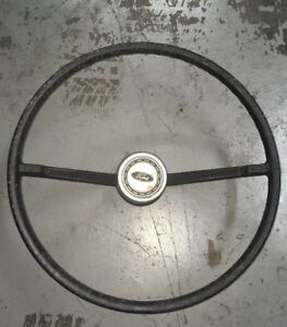 1966 1977 Early Ford Bronco Factory Steering Wheel With Horn Button