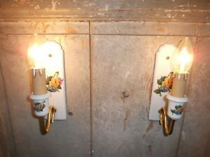 French A Pair Of Porcelain Wall Light Sconces Beautiful Antique Vintage Marked