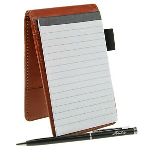 Small Pocket Pu Leather Business Notebook Lined Memo Pad Holder Jotter Book S