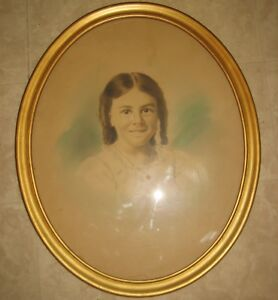 Vintage Large Gold Oval Wooden Picture Frame Glass Pix Size 19 1 4 X 15 1 2