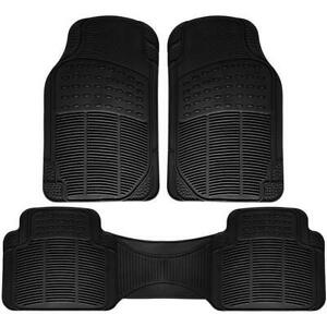 Black Floor Mats For Suvs Trucks Vans 3pc Set All Weather Rubber Semi Custom