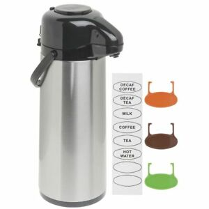 Hubert Airpot Coffee Dispenser With Pump Lid 2 1 2 L Stainless Steel Glass lined