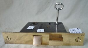 Mortise Lock Latch Marked Sargent 5 1 2 Cast Brass Face W Key 1886 Per Lock