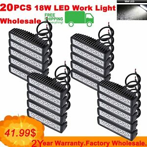 20pcs 18w Flood Cree Led Work Light Bar For Trucks Car Offroad Suv Jeep Lamp