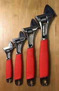 Snap On Fadh704b 4pc Flank Drive Adjustable Wrench Set Red