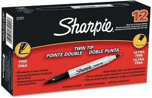 2pk Sharpie Twin tip Permanent Marker Black ultra fine And Fine Tip 24 Ct