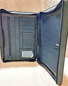 Ibm Logo Leeds Leather Padfolio Portfolio Zipper Case Briefcase Ebusiness
