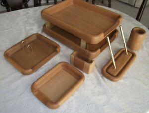 Vintage Oak Wood Desk Organizer By Eldon Woodline 6500