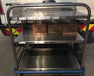 Stainless Steel Medical Rolling Utility Cart 3 Shelfs