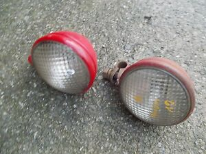 Farmall H M B Bn Tractor Pair Of 2 Original Working Front Ih 6v Lights Light