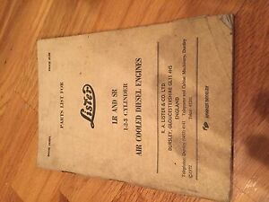 Lister Disel Engine Lr Sr Parts Catalog Book Manual