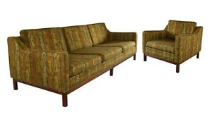 Vintage Tiki Mid Century Modern Couch Lounge Chair Set Jens Risom Style Mcm