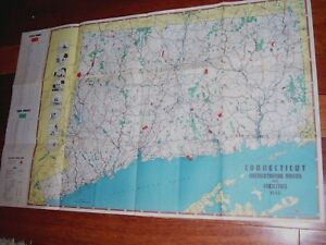 Vintage 1945 State Of Connecticut State Parks Forests Recreation Map Ct
