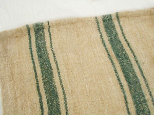 Rare Vtg Antique 1880s Forest Green Stripe Hemp Linen Feed Sack Grain Bag 18x46