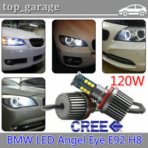 2x H8 120w Waterproof Cree Led Angel Eyes Halo Ring Light Bulbs White For Bmw