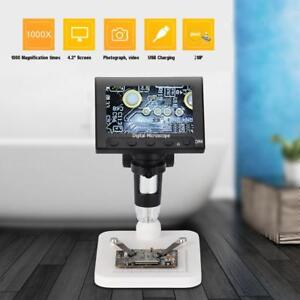 1000x 4 3inch Color Lcd 8 Led Digital Microscope 2mp Camera 1080p Hd With Stand